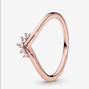 New Pandora Rose Tiara Wishbone Ring